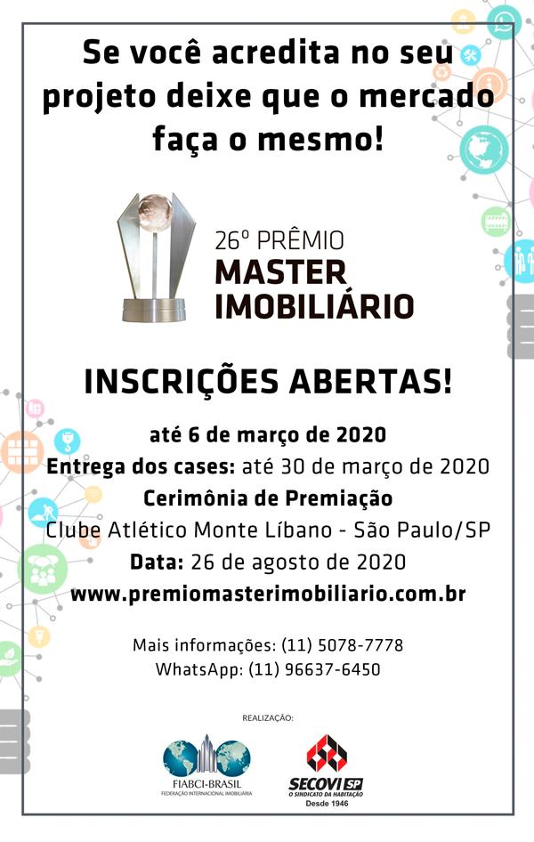 Estão abertas as inscrições do Prêmio Master Imobiliário 2020